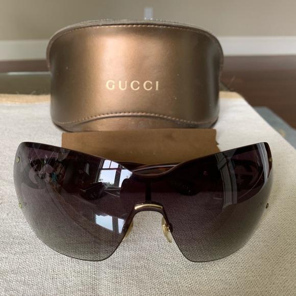 23202d39b Gucci Accessories | Rimless Shield Sunglasses In Gold Tortoise ...